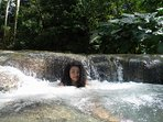 My beautiful daughter at  Mayfield Falls.  January 2016. Short drive from Negril, Amazing place.