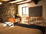Vintage school theme mixed with rustic cottage interior.