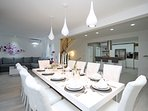 Welcome package for you! Dining area with exit to the outdoor dining & pool area