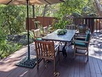 Enjoy the great Santa Barbara weather during dinner on the back deck. There's a 6-seat dining table overlooking lush...