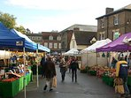 Traditional street market  along the Buttermarket and Cornhill on Wednesday and Saturday 80 stalls.