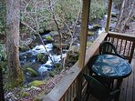 Enjoy your breakfast, lunch or dinner on the back porch by Betty Creek .... ahhh, those sounds.