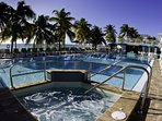 Comes with Cabana Club with Huge Pool, Whirlpool, Beach.  Order food and drinks.  Walking distance.