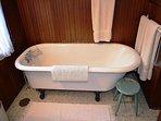Claw foot bathtub on second floor.