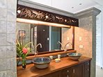 Enjoy the ambiance of this stunning bathroom.