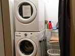 A washer and dryer are furnished in the condo.
