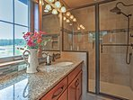 You'll also find a walk-in shower with a luxurious rainfall showerhead!