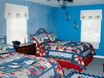 2nd bedroom includes, 2 Queen size beds w/Opt fold-out full bed futon and plenty of storage space.