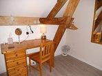 Bedroom 1, sleeps 2. Clothes hanging rail, hairdryer, desk, lamp, fan, desk & full length mirror