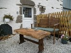 Outdoor private seating area for B and B guests. Parking for the Chambre d'hote is just next to this