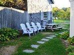 Relaxing area in the backyard.