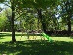 children's play frame in garden