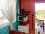 Fridge, microwave and coffee pot