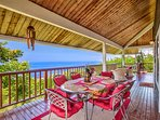 Comfortable dining for 8 with several seating areas around the wrap around lanai...great views & BBQ