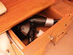 avoid a bad hair day and use this supplied hairdryer in the drawer
