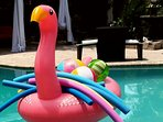 Fred the flamingo everyone loves him just like my Dad. He was fun I miss you.