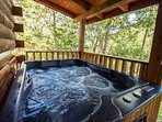 Hot tub located on back porch