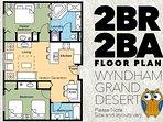 Floor plans for 2 Bedroom Wyndham Grand Desert Condo Rentals in Las Vegas.
