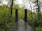 Puente colgante de la vía verde que atraviesa Sunbilla. Ideal para caminar o andar en bicicleta
