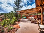 Large outdoor spaces to enjoy the 180 degree views. Listen to Oak Creek meandering past the casita