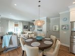 Dining Area & Living Room, slider glass doors open to patio