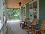 Rock Away on The Covered Front Porch at Lake Cove Cottage