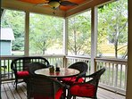 Dine on the Covered/Screened Porch at Lake Cove Cottage