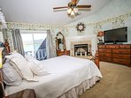 Bedroom 2- Queen Bed, TV, Decorative Fireplace, Deck Access- 2nd Level