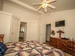 Bedroom 1- Master Suite- King Bed, TV, Private Bath With Jetted Spa Tub