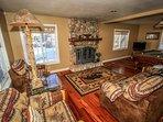 Family Room Furnishings, Rock Fireplace