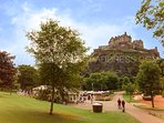 The apartment looks over Princes Street Gardens