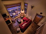 Loft view of the cozy living space.