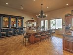 With a surface center bar and a separate top wet-bar, there's plenty of seating!