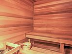 All your cares will drift away with some time spent in the private sauna.