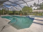 Featuring a lanai with a private pool overlooking the lovely green palm trees in the backyard, this vacation rental...
