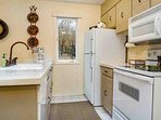 Fully equipped kitchen with views of the open space near Gore Creek.