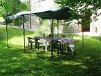 Covered eating area for dining al fresco