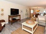 Cozy Living Space, Beautiful Flooring, Huge TV!