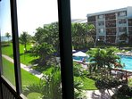 Views from the lanai over the pool to the beach.