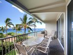 The lanai has seating for 4 people at the table.  There are also 2 young chairs on the lanai.