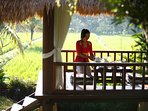 Enjoy your  breakfast overlooking the rice fields