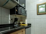 Kitchen: microwave, fridge, coffe machine