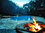 Pool house fire pit