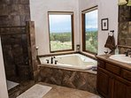 Our master bath not only has a 2-person, Jacuzzi tub but a walk in 2-person shower!