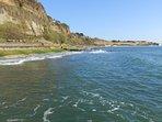 Shanklin beaches at high tide