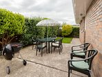 South West facing Patio & Back Garden very private with Weber Barbecue