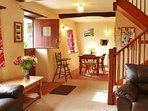 The open plan downstairs gives a feeling of space in this cosy cottage