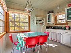 Gather around the retro table to savor every bite of your tasty home-cooked meal.