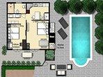 Downstairs Floor plan Oprah Suite