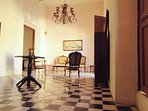 The Living Room with the polished antique pasta tile.